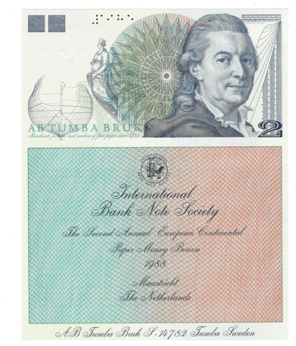 This example of a printers' sample of an information sheet for use by the International Bank Note Society was produced in 1988. Not only is the piece exciting for what it is but for the company that produced it, Tumba Bruk. The Swedish firm, established in 1775, is the oldest bank note printing factory in existence.