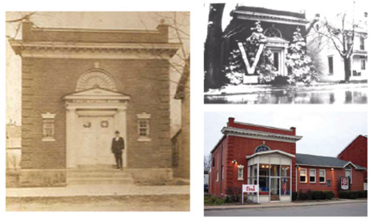 "The vintage photo at left shows the First National Bank of Liverpool soon after its construction in 1906, with bank president Snyder standing in front. At top right, the bank during the winter of 1918, sporting a ""V"" for Victory in the First World War. At bottom right, the bank as it appears today. The original building is easily identifiable; an extension has been added over the years, as the bank is still in business."