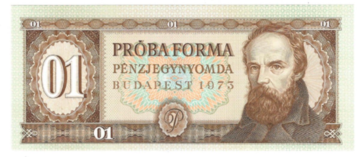 This specimen is an example of a Hungarian note produced in Budapest in 1973. The text is Hungarian, and the richness of the brown tone aids in creating a striking profile of an unidentified subject.