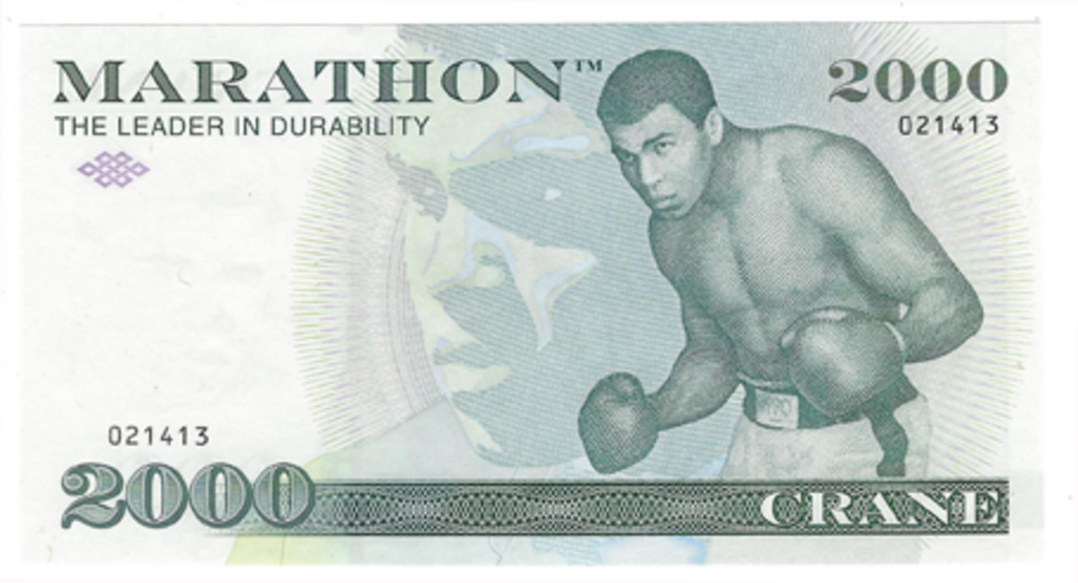 One of the most iconic images of boxing champion Mohammed Ali appears on this advertising sample for Marathon created by Crane and Company. In addition, Crane and Company is the firm that supplies the Bureau of Engraving and Printing with special paper for U.S. currency.