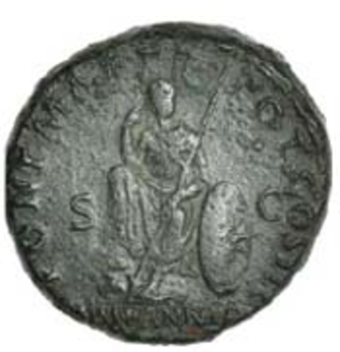 First representation of the goddess Britannia on Roman coinage commemorating Hadrian's victories in Britain over the Brigantes. As of 119-21 C.E. (S-637A), it realized $1,087 [£780] in fine. (Image courtesy and © DNW)