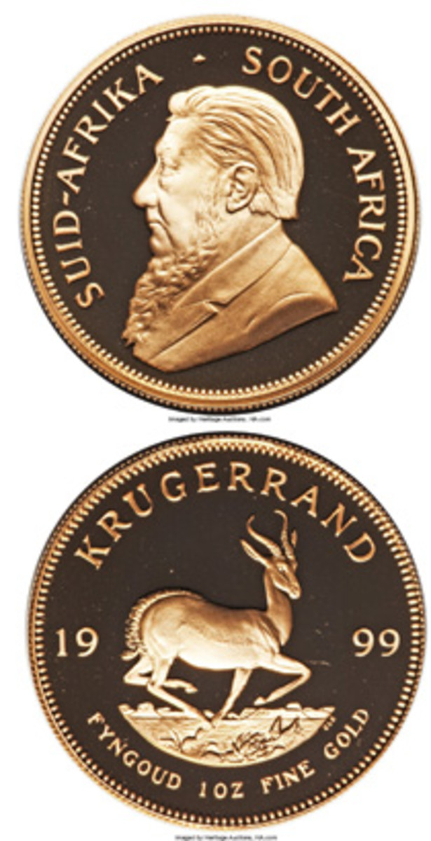 Typical proof Krugerrand with 200 reedings about its edge. Many proof Krugerrands dates are rare. This 1999 issue is numbered 156 out of 1,000. (Images courtesy www.ha.com)