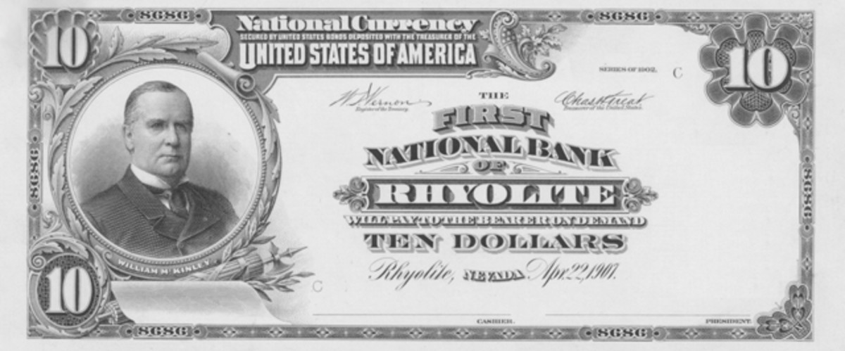 Until the discovery of the note featured on the cover of this issue of Bank Note Reporter, the best example of what a First National Bank of Rhyolite note would look like was this plate proof.