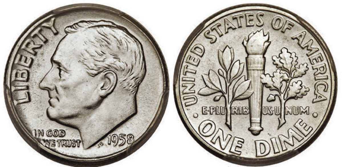 This 1958 Roosevelt dime with Full Bands is graded MS-67 by PCGS. (Images courtesy Heritage Auctions.)