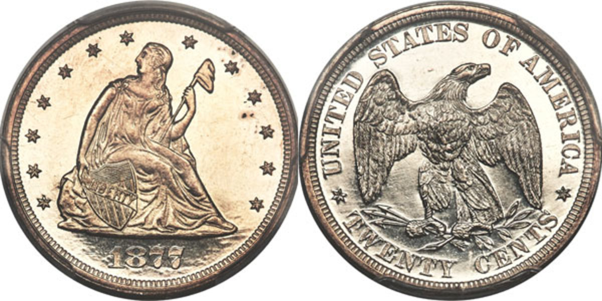 Seated Liberty twenty cent pieces were issued from 1875 through 1878, with the 1877 and 1878 issued as Proofs only. Just 510 of the 1877 shown here were minted.