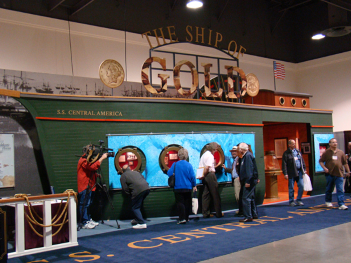 """The """"Ship of Gold"""" exhibit returns to the February 2018 Long Beach Expo with the first public display of a $40 million portion of the California Gold Rush sunken treasure recovered from the """"S.S. Central America"""" in 2014. (Donn Pearlman photo)"""