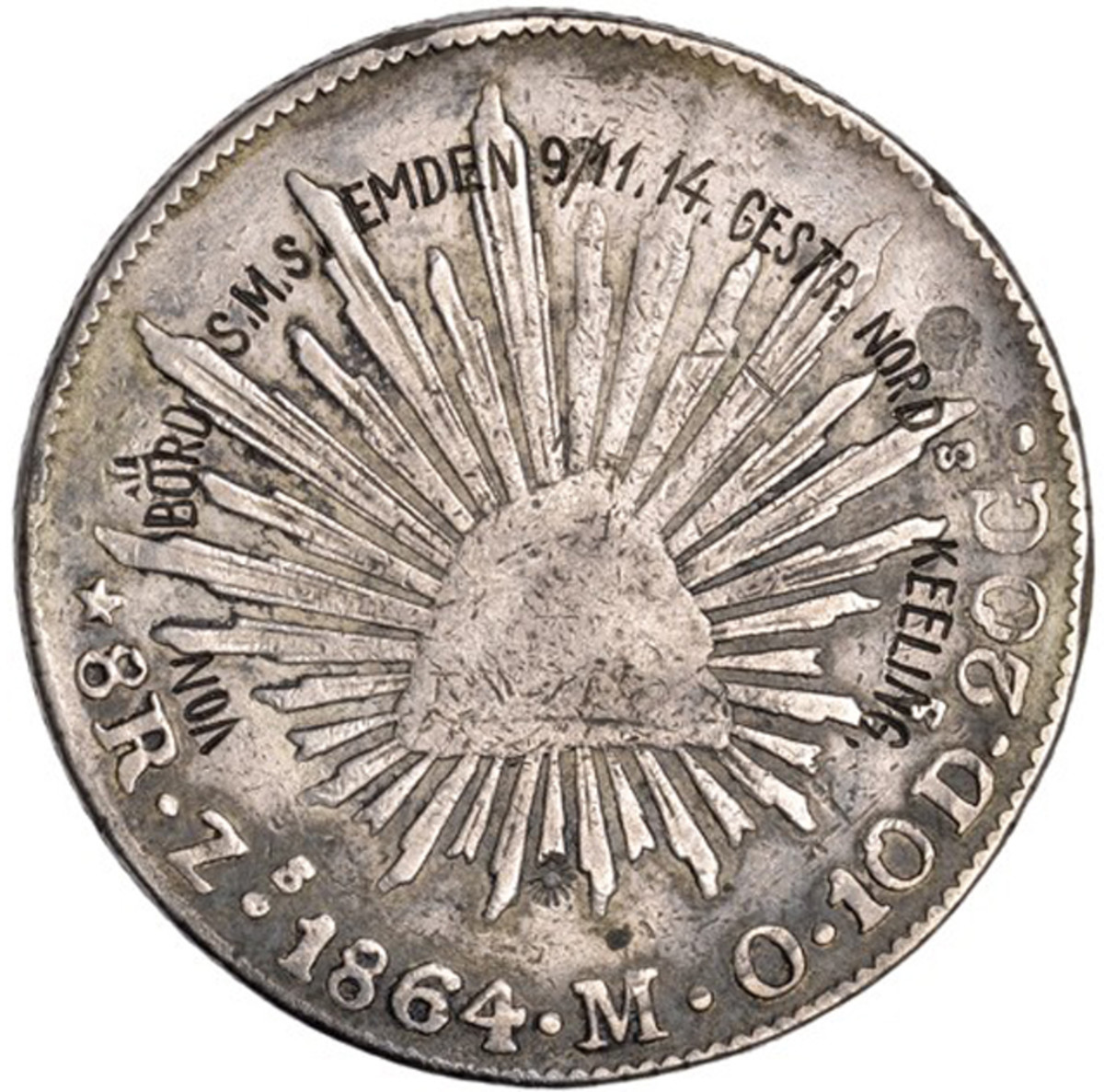 Engraved Mexican peso from the SMS Emden.