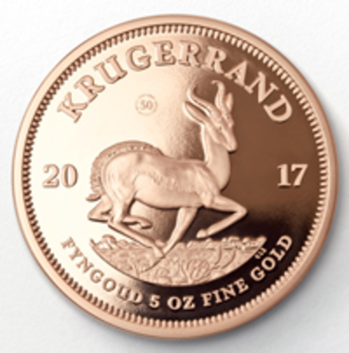 Reverse of the 50th anniversary five-ounce gold proof Krugerrand, another first for the South African Mint. (Image courtesy & © South African Mint)