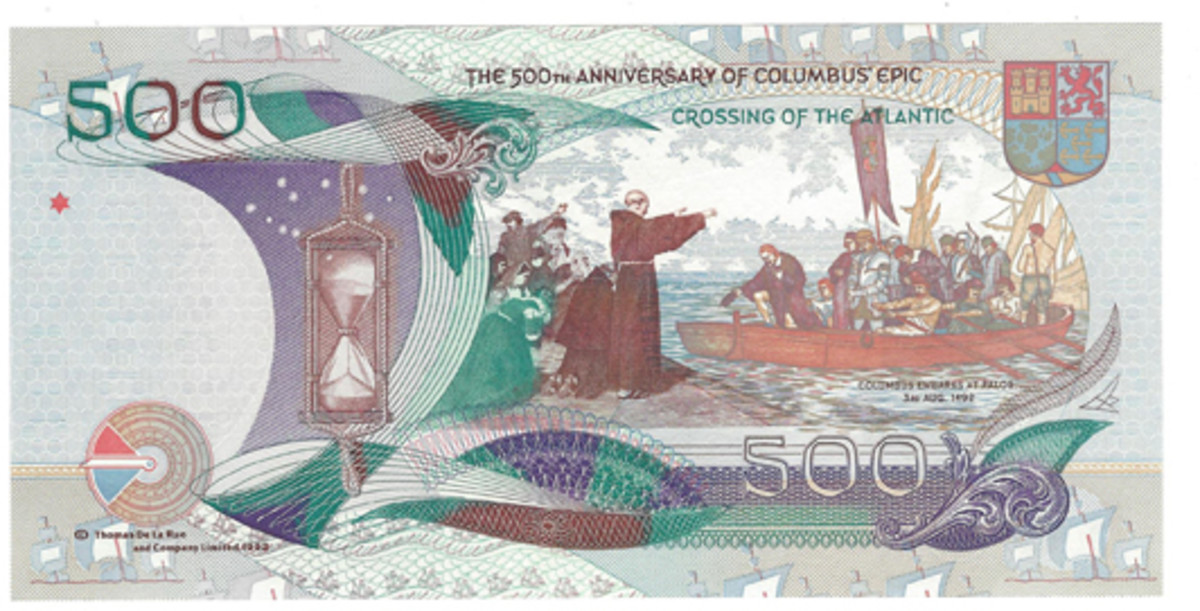 Thomas De La Rue and Company printed this example recognizing the voyage of Columbus. It shows the ship and the explorer on the face, while Columbus landing and appropriate text are on the back.