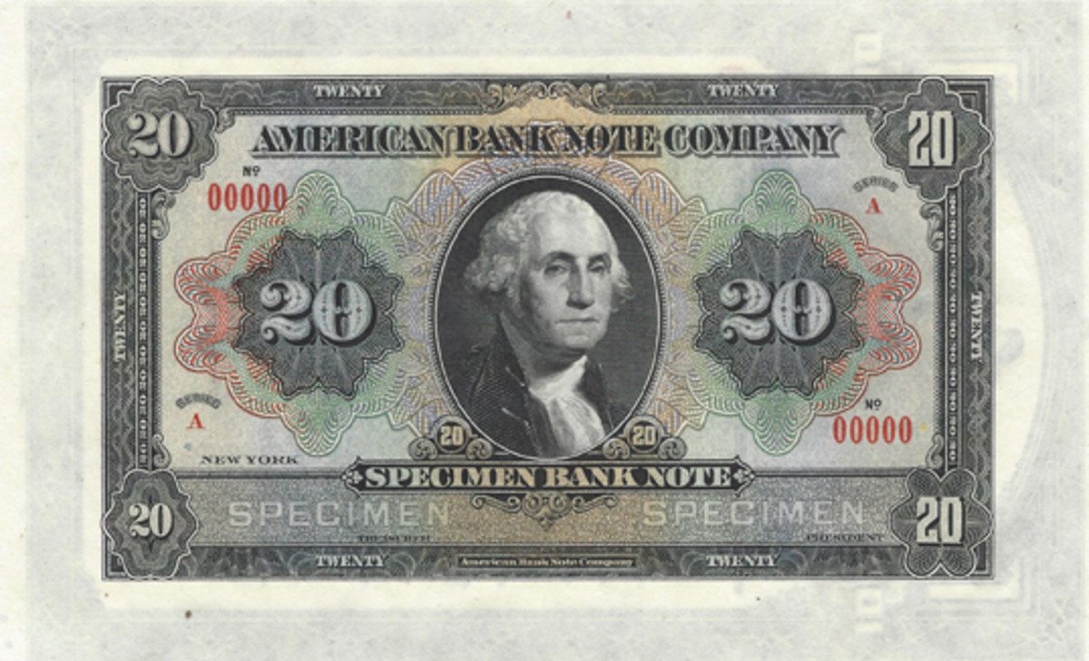 The American Bank Note Company produced this Specimen Bank Note featuring George Washington front and center sometime between 1920 and 1930. The front view in all its glory is all there is, as there is no back design.