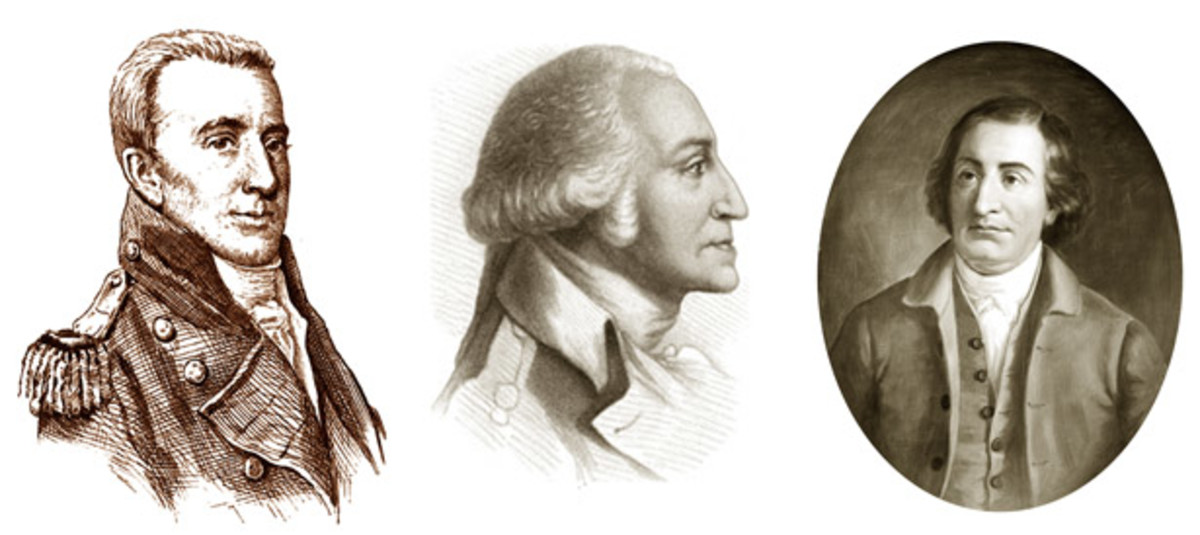 From left: The President's private secretary, Tobias Lear; President George Washington; and Attorney General Edmund Randolph.