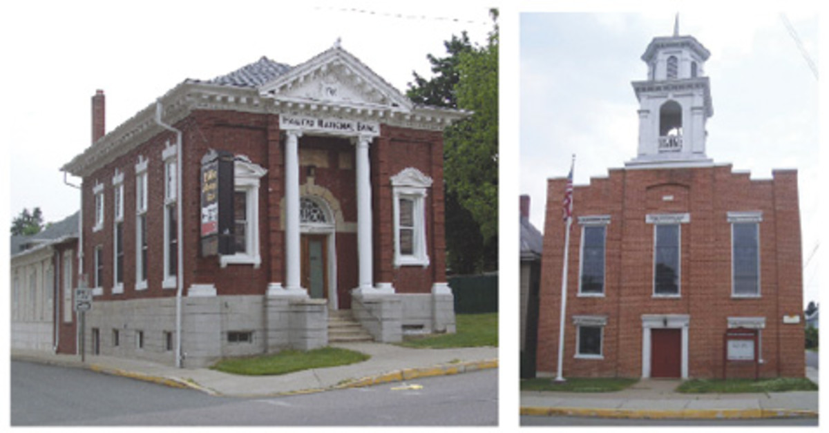 At left is the Halifax National Bank, Halifax, Pa., as it appears today, hardly changed at all over the decades. It is a pristine original bank of a style that was prevalent during that time. At right, the Old Episcopal Church of Halifax, erected in 1859, stands across the street from the national bank and currently serves as the Halifax Area Historical Society.