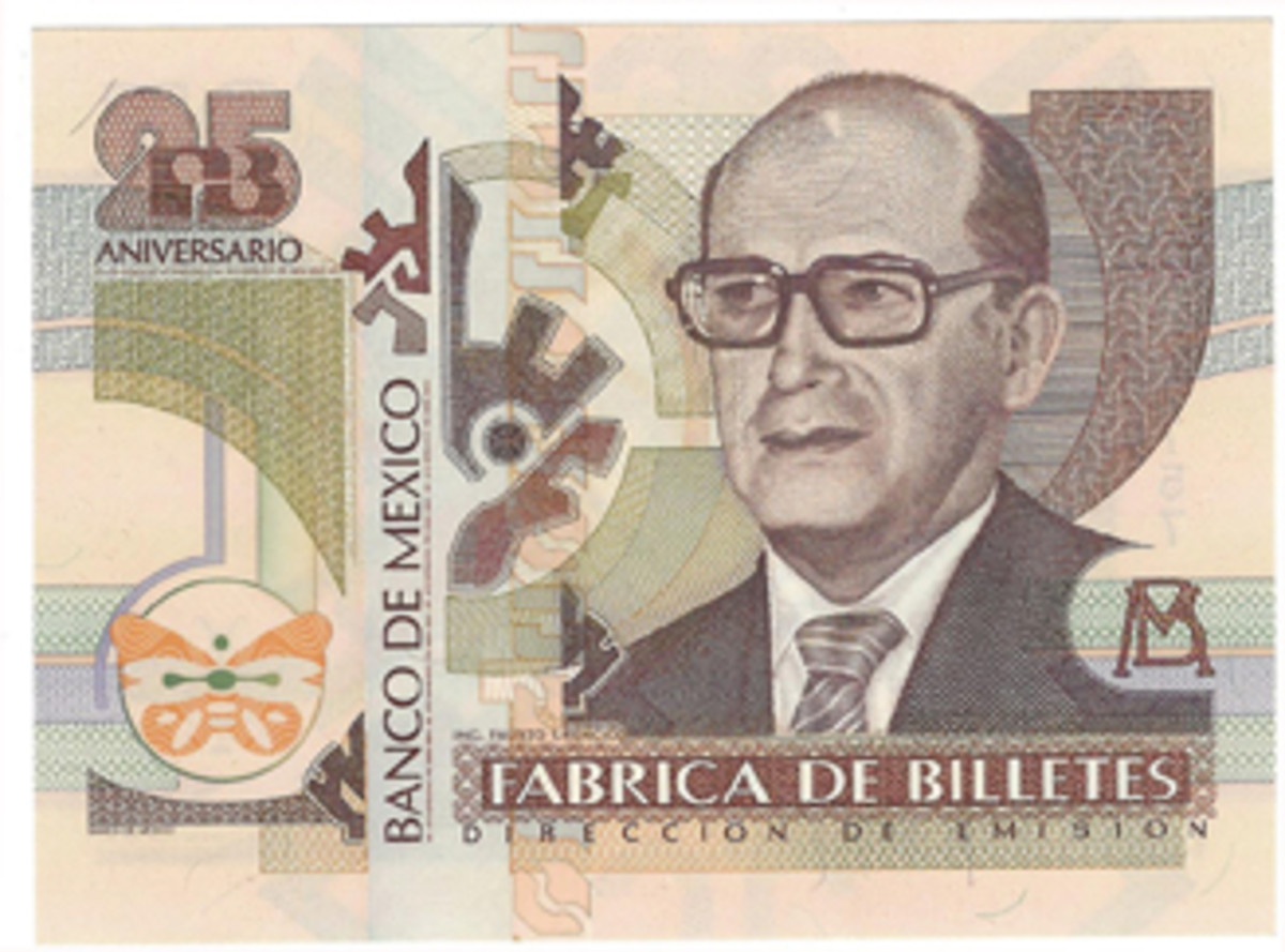 In recognition of its 25th anniversary in operation, the Banco de Mexico produced this example in 1994. The portrait is unidentified.