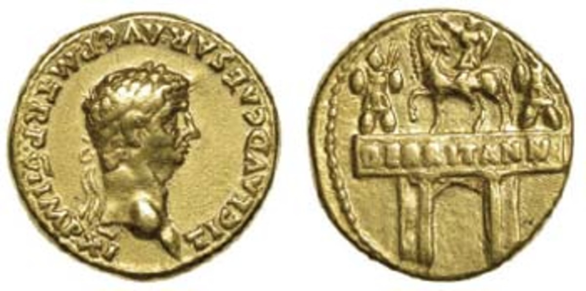 First numismatic mention of Britannia: aureus of Claudius, 46-7 C.E., showing a triumphal arch celebrating the Emperor's conquest of Britain (S-633). In aVF, it realized $10,872. [£7,800]. (Image courtesy and © DNW)