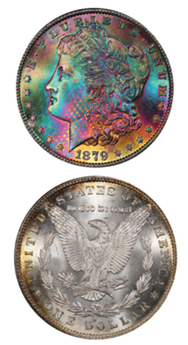 This toned 1879 Morgan dollar, Lot 338, sold for nearly $20,000 more than its estimate when it realized $27,025 at Legend Auctions' May 18 sale.