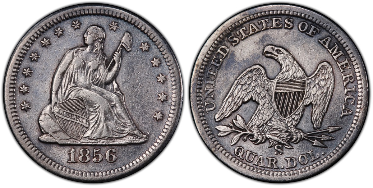 """This 1856 large S over small s mint mark quarter dollar, now graded PCGS XF45, is one of nine examples of the elusive variety recently discovered in the treasure recovered from the fabled """"Ship of Gold,"""" the S.S. Central America. (Image courtesy of Professional Coin Grading Service www.PCGS.com.)"""