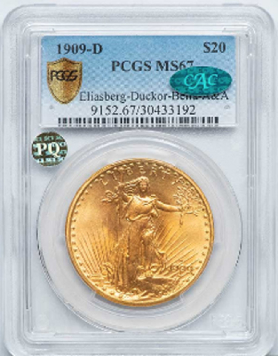 A record price of $329,000 was paid for this1909-D Saint-Gaudens double eagle that was once part of the Eliasberg collection.(Image courtesy legendauctions.hibid.com)