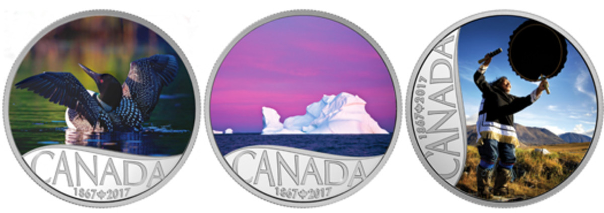 "Three of the releases from ""Canada's 150"" subscription coin series in which each $10 coin represents one the 10 provinces and 3 territories. From left: Common Loon, Iceberg at Dawn, Drum Dancing."