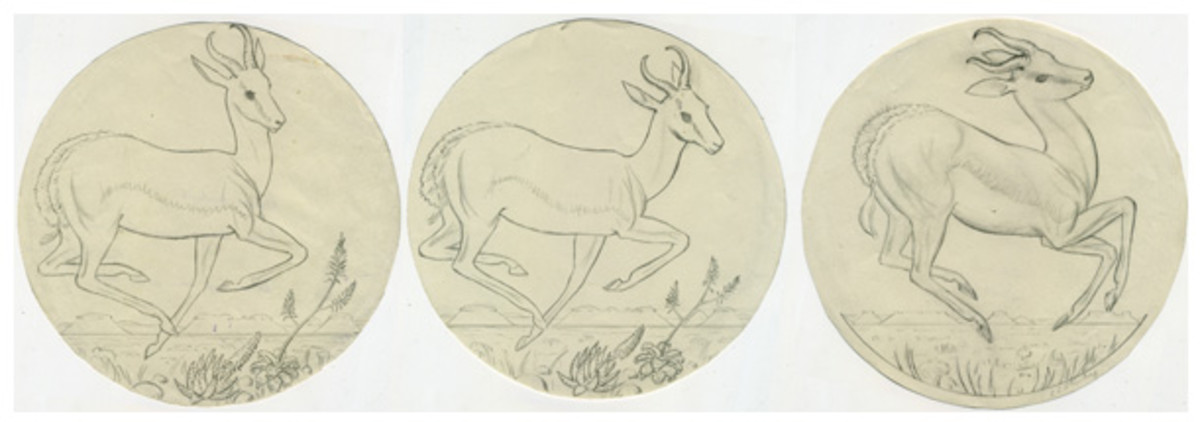 Working sketches by Coert Steynberg of the pronking springbok that, prior to its appearance on the first Krugerrand, had previously been used on the Union of South Africa's silver 5 shillings and gold pound and the republic's gold 1 and 2 rands. (Images courtesy & © South African Mint)