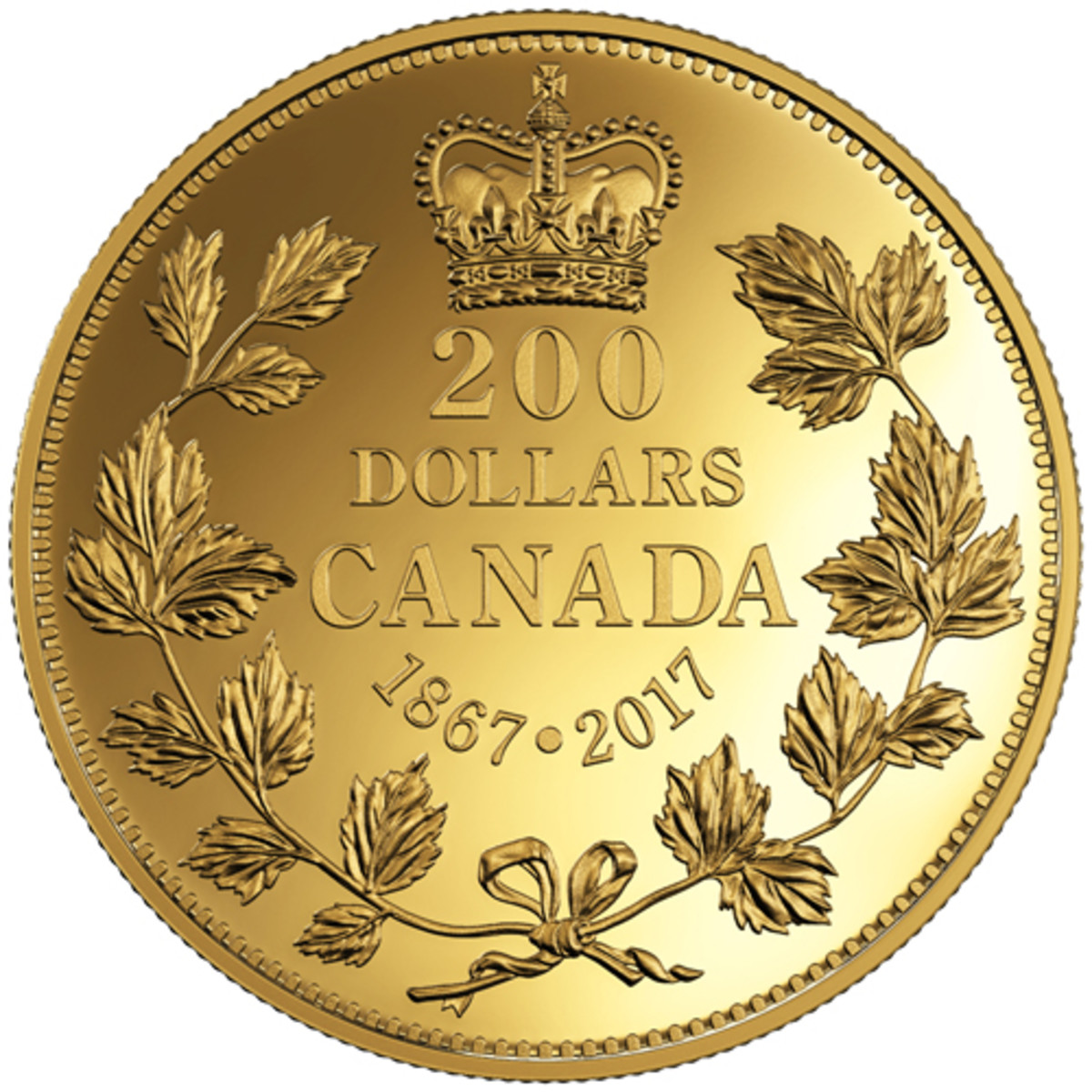 A gold proof coin marking Canada's 150th birthday in 2017 has a reverse design similar to that of the nation's first circulation coinage. (Image courtesy Royal Canadian Mint.)