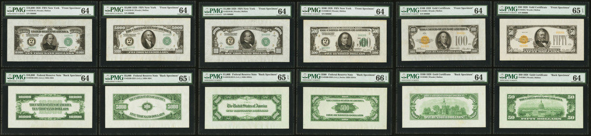 Shown are the $100 Gold Certificate, $50 Gold Certificate, $1,000 Federal Reserve Note, and $500 Federal Reserve Note specimens. Not shown, but included in the set, are the face and backs of the $20 Gold Certificate, $10 Gold Certificate, $5 Legal Tender, $2 Legal Tender and $1 Silver Certificate.