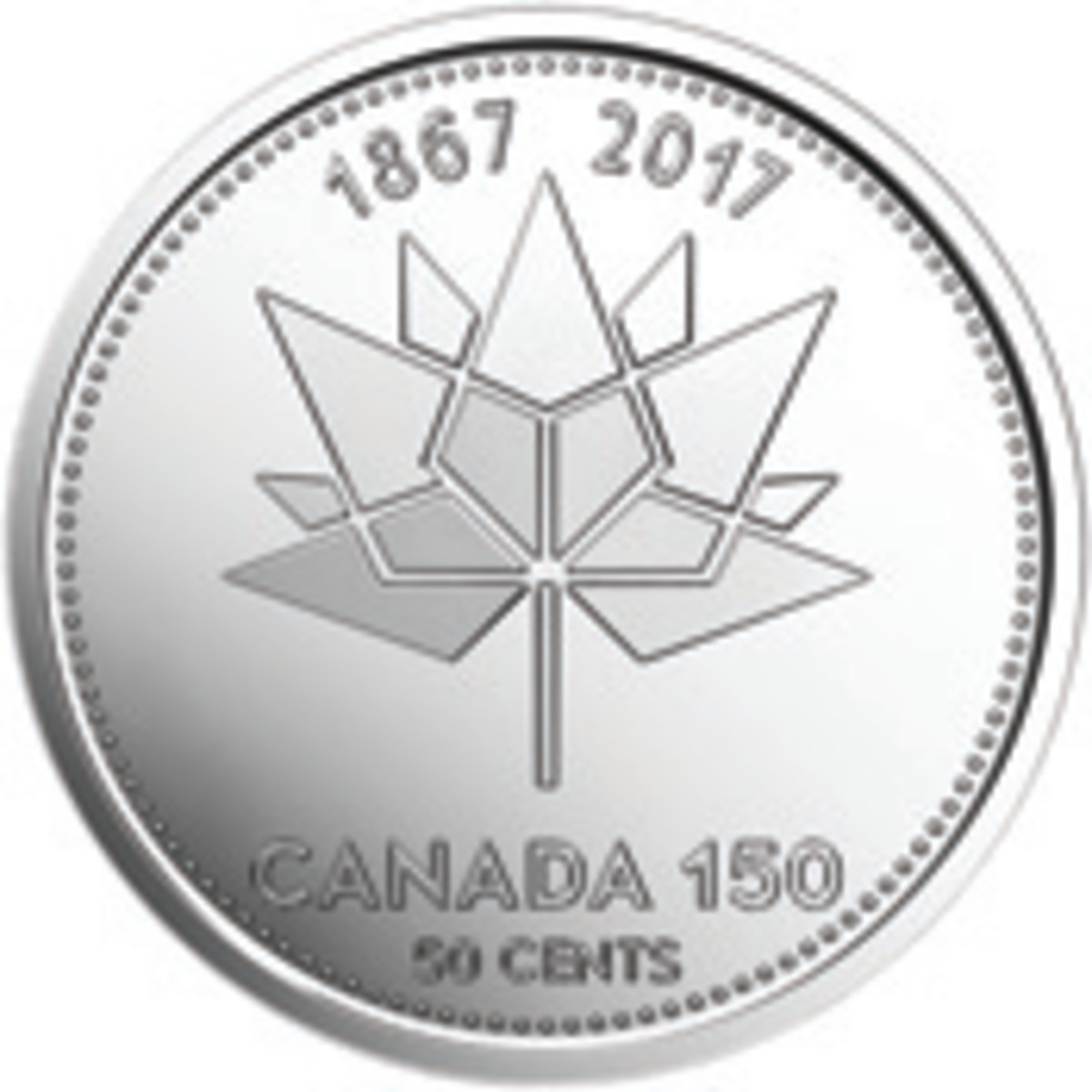 The reverse of Canada's 2017 commemorative 50 cents displays Ariana Cuvin's maple leaf mosaic representing the Confederation. The four diamond shapes connected to the stem symbolize the four original provinces that joined in 1867 (Ontario, Quebec, New Brunswick, Nova Scotia). The remaining 9 shapes represent the provinces and territories that have followed since.