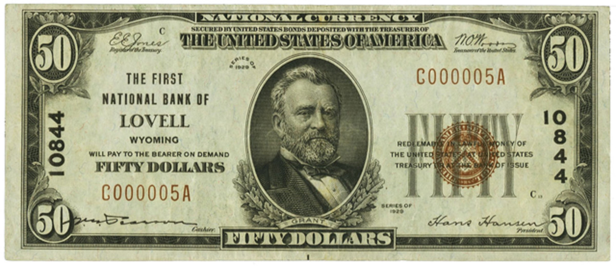 This is the fourth $50 out of 60 issued to this Wyoming bank. The Lovell bank was the only bank in the state to issue $50s.