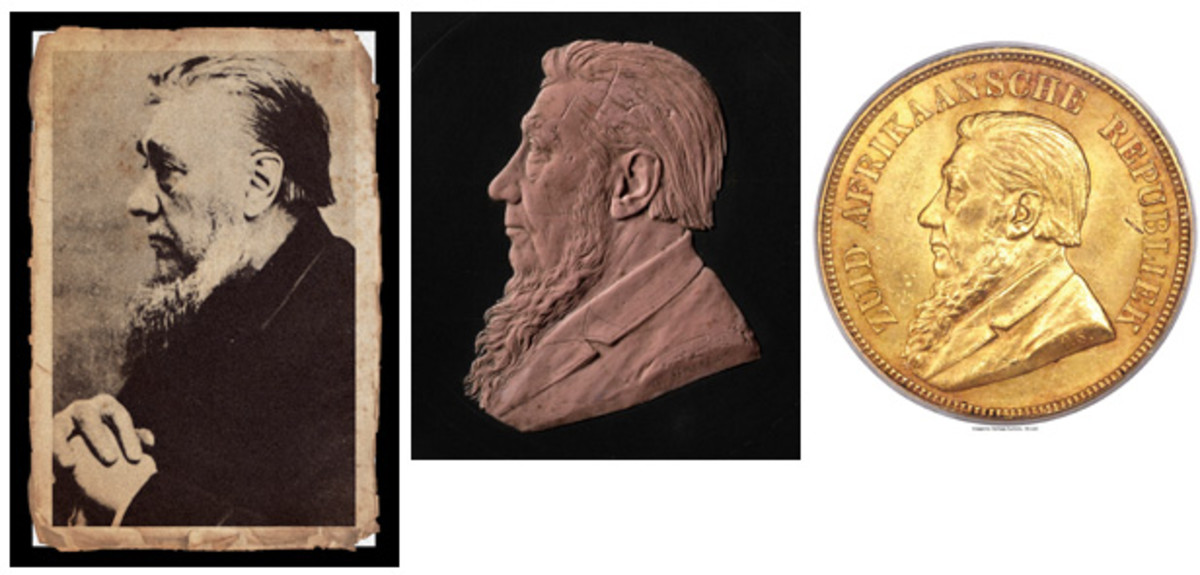 Otto Schultz's original wax model of the effigy of Johannes Kruger along with the photograph he used to prepare it and an 1892 pond of Zuid Afrikaansche Republiek, KM-10, on which it was struck by The Berlin Mint. (Images courtesy & © South African Mint and Heritage Auctions, www.ha.com)