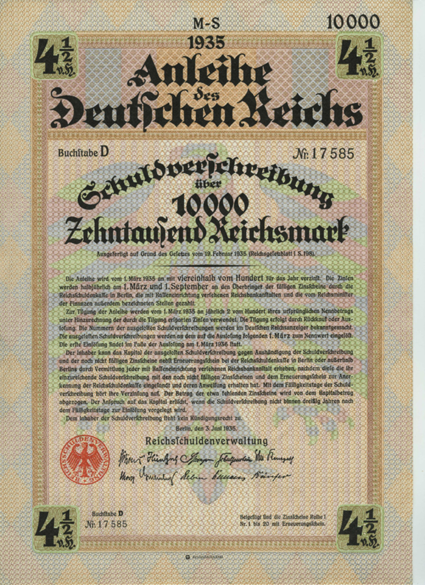 German Reich Loan, 4 1/2% bond 10,000 reichmark, Berlin July 3, 1935.
