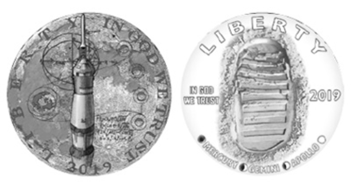 Two designs were most favored by members of the Citizens Coinage Advisory Committee for the obverse of the Apollo 11 50th Anniversary commemorative coin program. Artist 167's design (left) features a rocket and mathematical equations atop the textured surface of the moon. Artist 265's design portrays a footprint left on the lunar surface during the moon-landing mission.