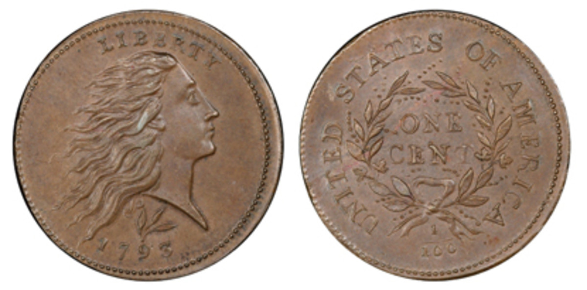 $293,750 was the price commanded by Lot 95, a 1793 Wreath cent with lettered edge.