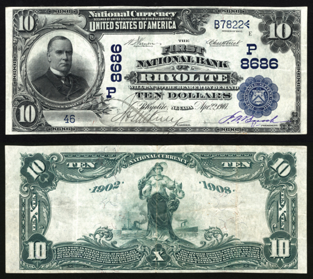 Until this note surfaced, no notes were known to exist on the First National Bank of Rhyolite, Nev. This exciting rarity will be featured in Lyn Knight Currency Auctions' PCDA sale this November.