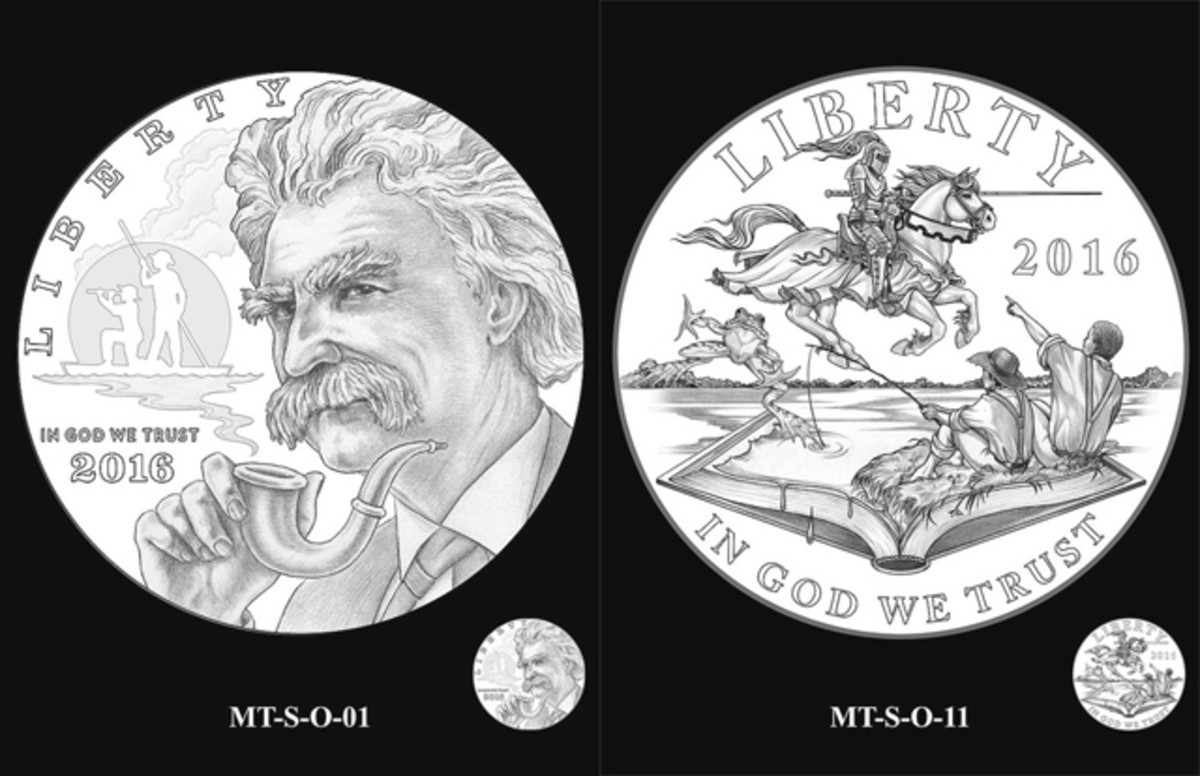 For the silver dollar, the CCAC endorsed a portrait of Twain holding a pipe with a silhouette of Huck Finn and Jim, characters from his book, on a raft in the background.