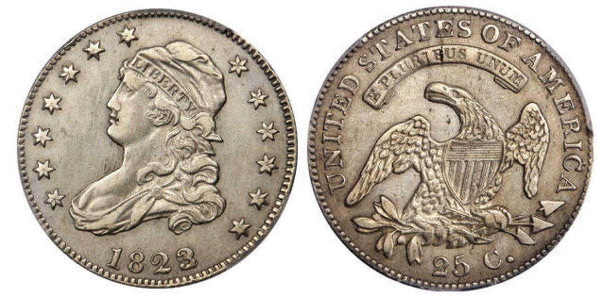 This 1823/2 Browning-1 quarter dollar graded EF-45 by PCGS realized $102,000.
