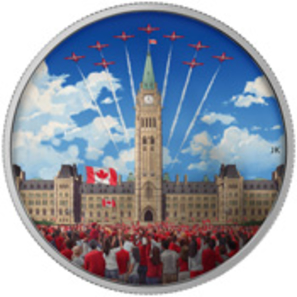 The 54 mm, 62.67 g .9999 fine silver colored $30 issued to mark this year's Canada Day. In daylight the reverse shows the crowd, clad in red and white naturally, celebrating on Parliament Hill during a fly-past by The Snowbirds. When viewed under a black light (supplied) the scene turns to night to show the grand firework finale.