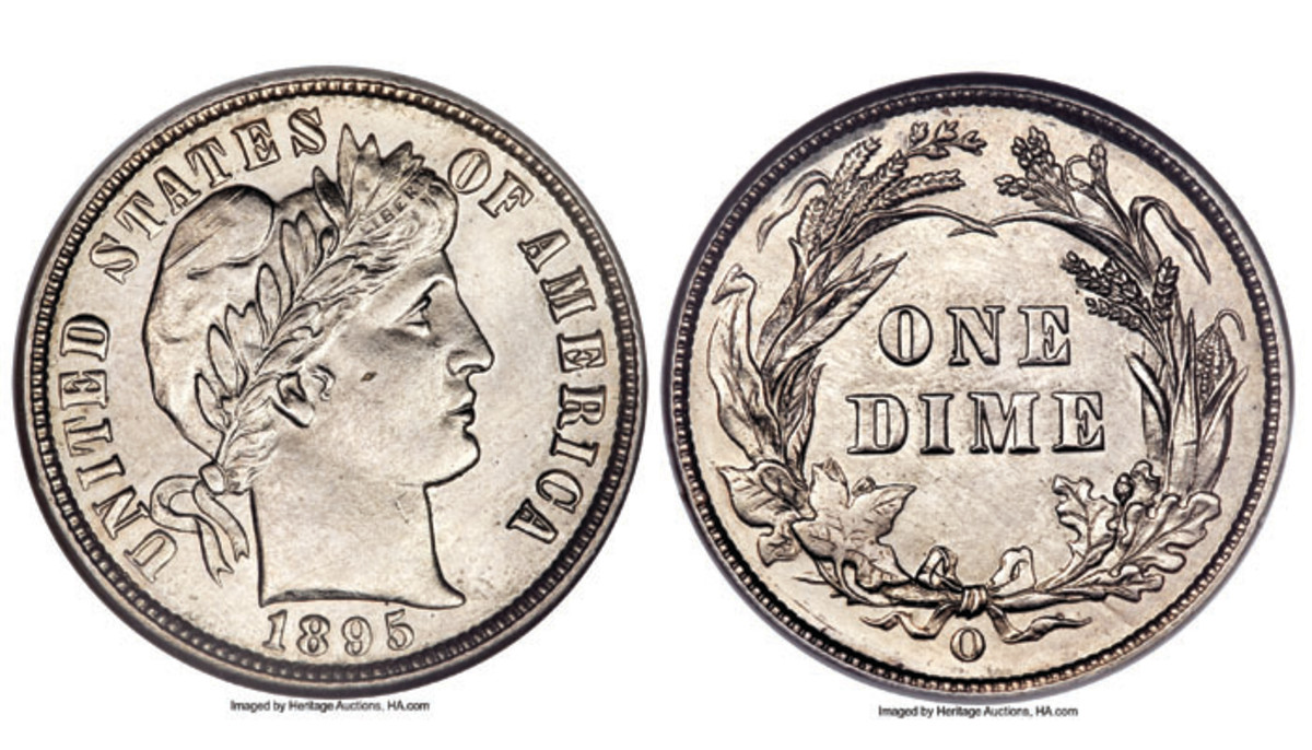 Image 01 and image 01(r)- This 1895-O Barber dime graded MS64 by NGC sold for $10,350 in the 2010 ANA Signature and Platinum Night Coin Auction (Images courtesy of Heritage Auctions)