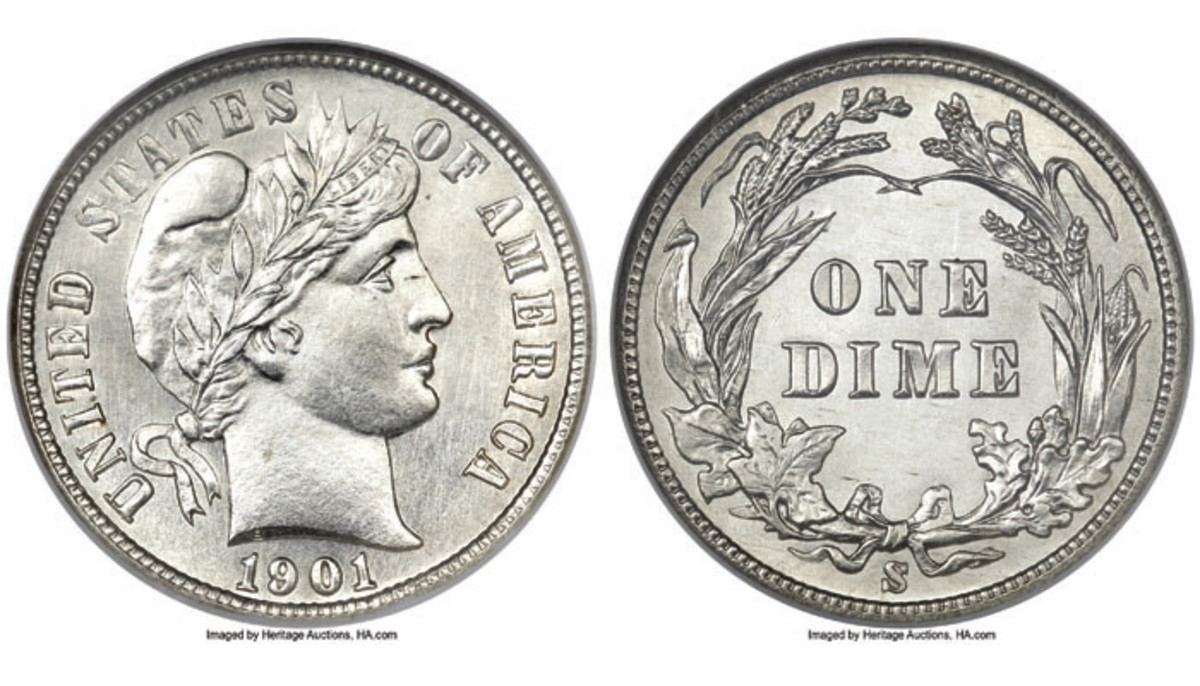 Shown is the 1901-S Barber dime from the Richmond Collection graded MS65 by NGC. It is considered Conditionally Rare and sold for $3,737.50 at the 2011 US Coins Signature Auction (Images courtesy of Heritage Auctions)