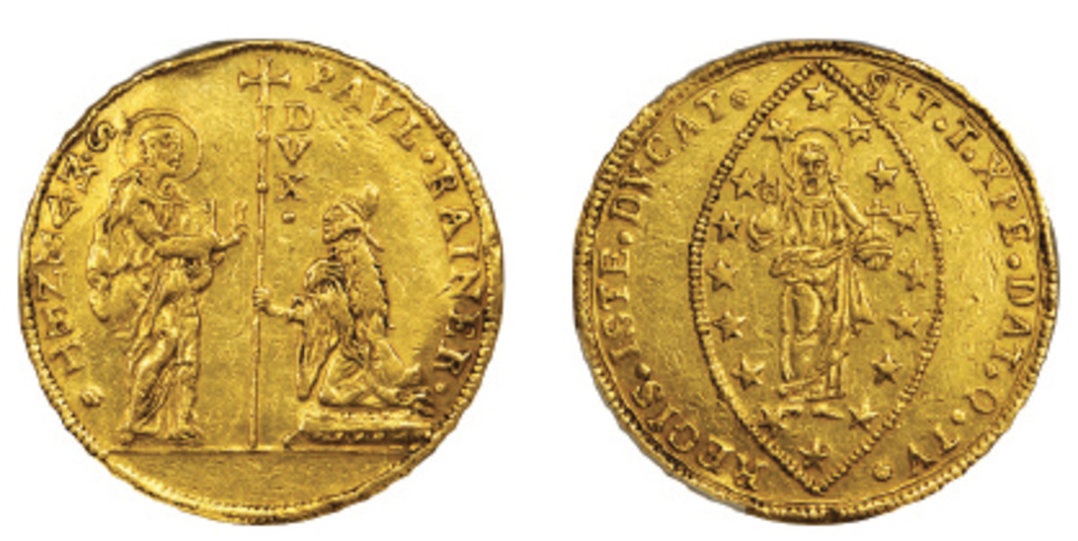 Super-rare Venetian 40 zecchino struck for Paolo Renier, the 119th Doge of Venice c. 1779-89 (Fr-1426; C-113). It will be offered by Stack's Bowers in their NYINC sale in January. (Images courtesy Stack's Bowers)