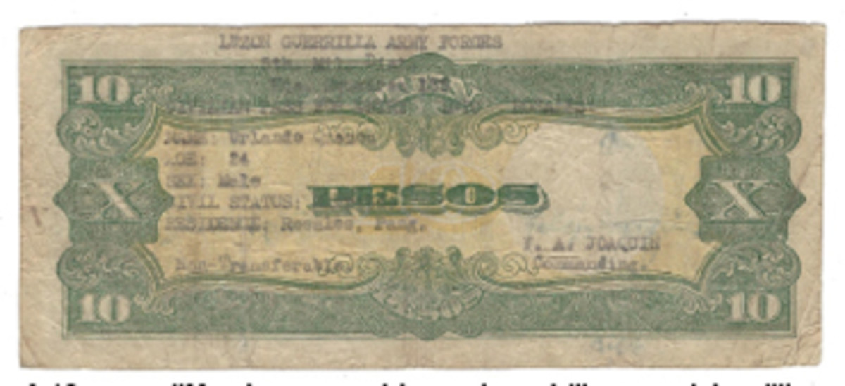 A 10 pesos JIM note was used to create a civilian pass into military areas on Luzon.