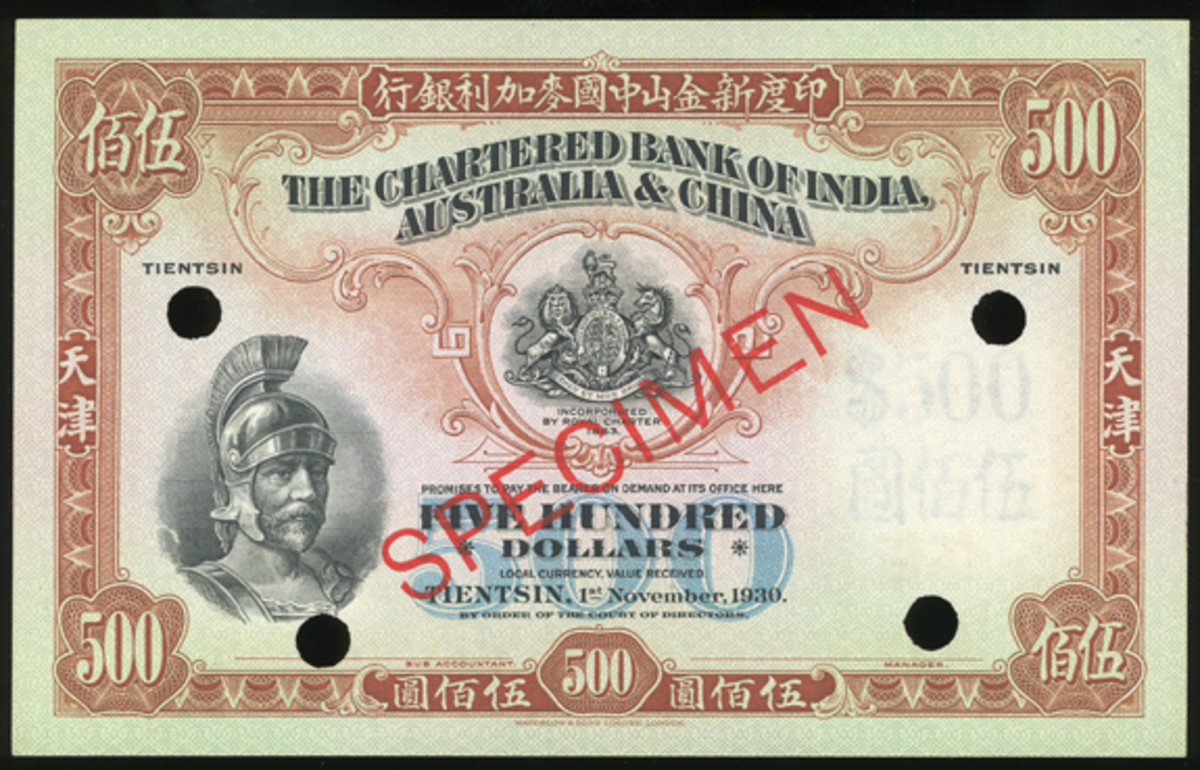 """""""The Old Roman"""" Chartered Bank of India, Australia and China $500 true color specimen of 1 November 1930 drawn on Tientsin (P-S220s). Unpriced in SCWPM and in aUNC condition, its estimate is set at $13,000-19,000. (Image courtesy and © Spink China)"""