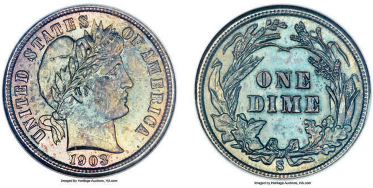"""This 1903-S Barber dime graded MS66 by NGC is described by Heritage as a """"Multicolor Key-Date Representative."""" There are only two finer of the eight MS66 submissions reported by NGC (Images courtesy of Heritage Auctions)"""