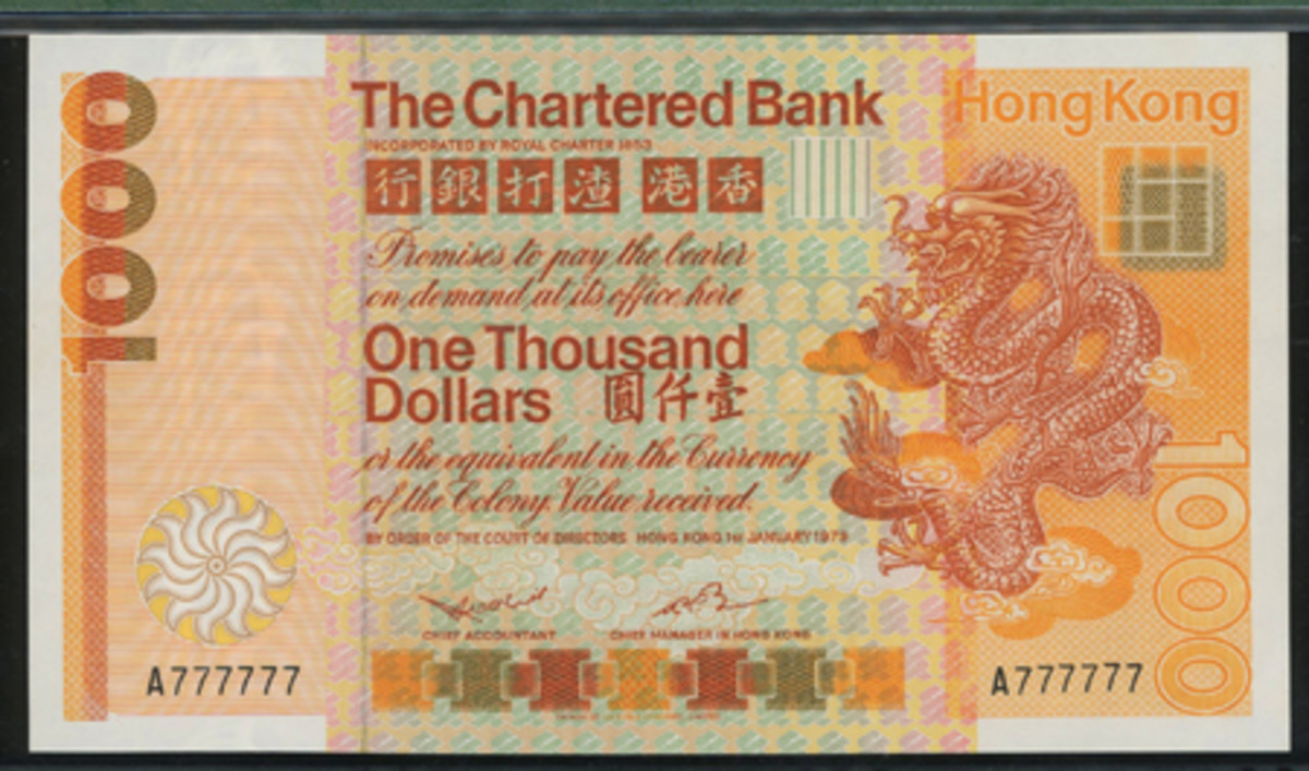 Standard Chartered Bank $1,000 dated 1 January 1979 (P-81a) with solid serial A777777. In PMG 58 Choice About Uncirculated, it goes to the block with an estimate of $25,000-40,000. (Image courtesy and © Spink China)