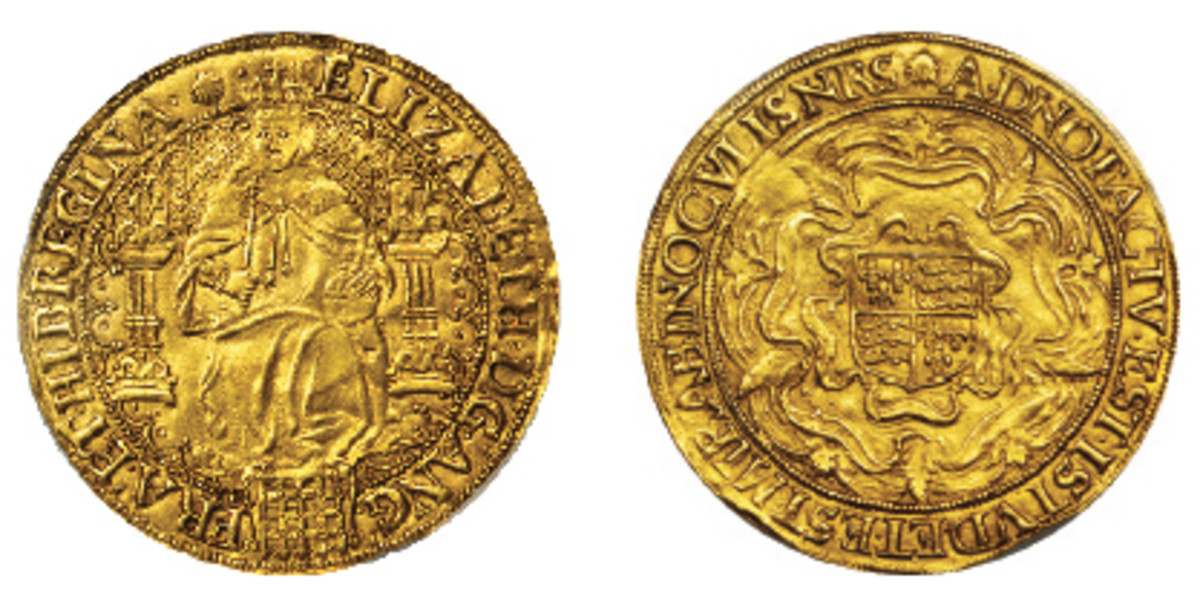 Desirable example of a sixth issue hammered sovereign of Elizabeth I that carries an estimate of $20,000-$25,000 in PCGS AU-58. (Images courtesy Stack's Bowers)