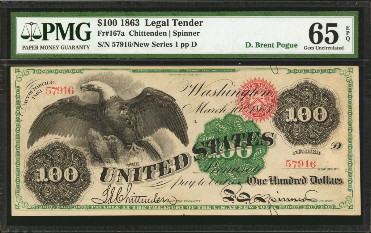 Fr. 167a. 1863 $100 Legal Tender Note. PMG Gem Uncirculated 65EPQ. The Finest Known. Image courtesy Stacks Bowers