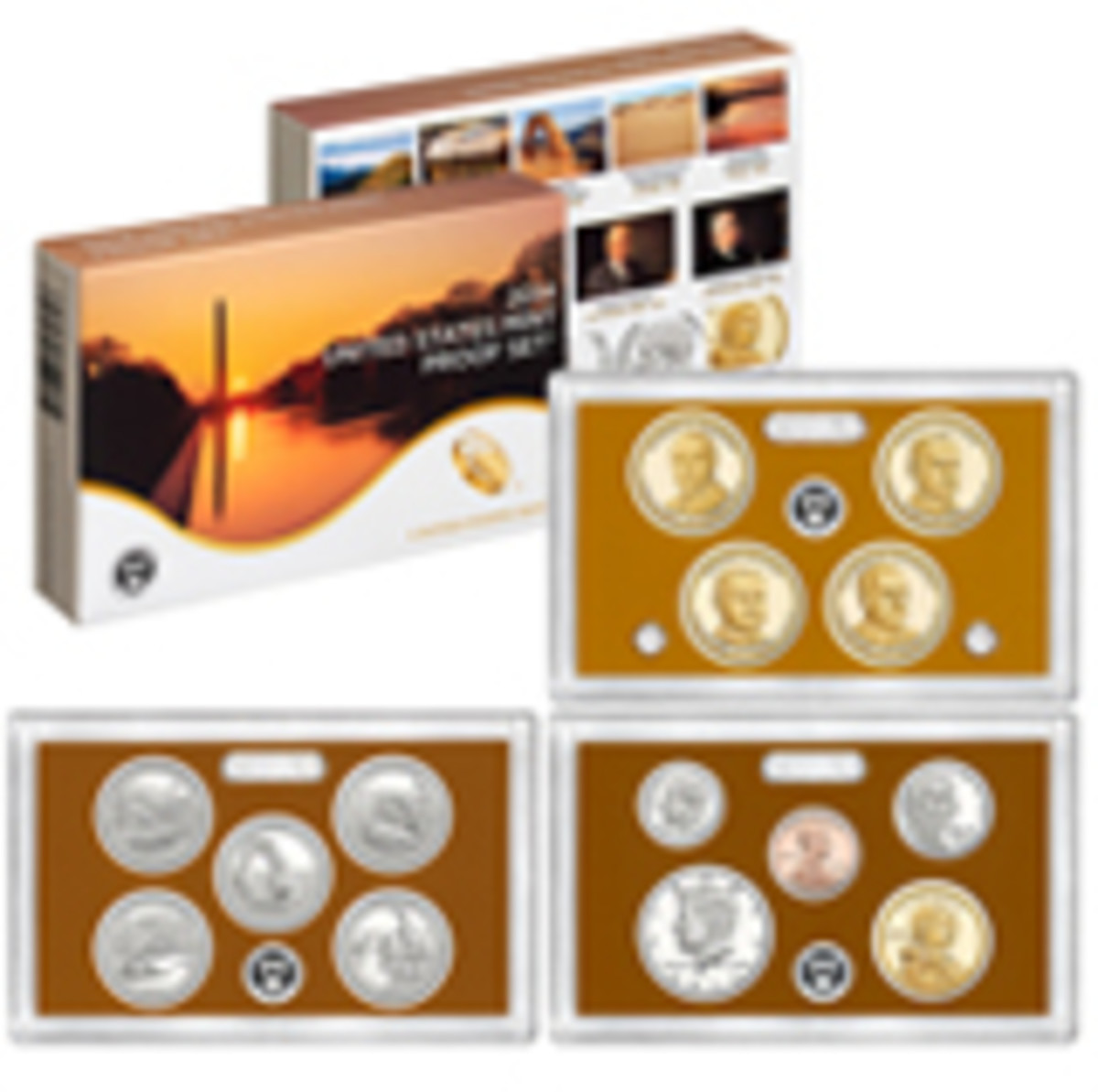 The U.S. Mint issues 14-coin clad and silver proof sets containing proofs of all the circulating coins made that year