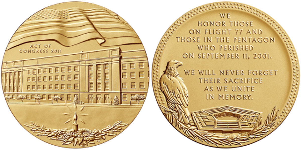 Obverse and reverse of the Pentagon medal