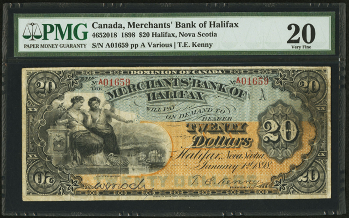 """Top selling Canadian lot: a discovery Merchants' Bank of Halifax $20 dated Jan. 1, 1898. Charlton lists this issue as """"no known issued notes."""" In PMG Very Fine 20 it sold for $28,200."""