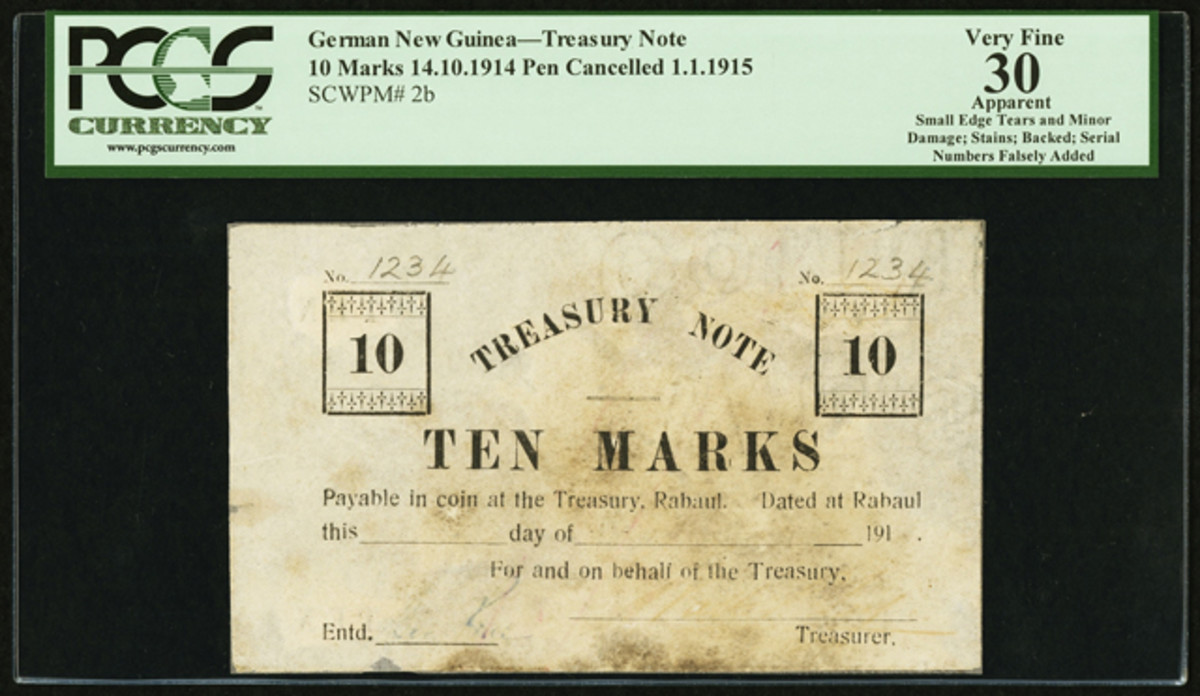 """Extremely rare German New Guinea Treasury 10 marks, P-2b, issued by the victorious Australian forces in World War I that sold for $12,925 in PCGS Apparent Very Fine 30. Note the spurious """"1234"""" serials."""