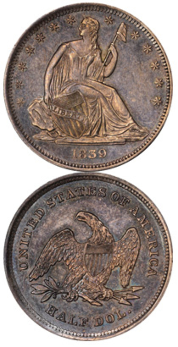 1839 No Drapery Seated Liberty half dollar (Images courtesy Kagin's Auctions)