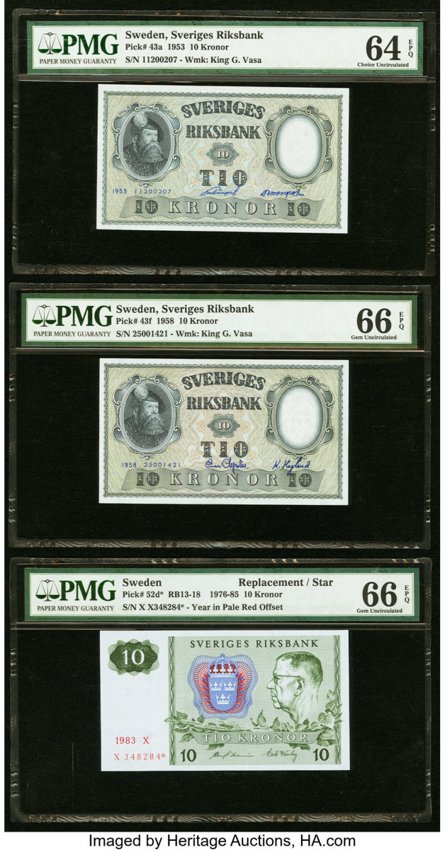 Examples of Swedish currency (Image courtesy of Heritage Auctions.)